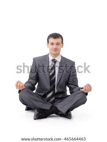 Closeup of attractive young man  meditating