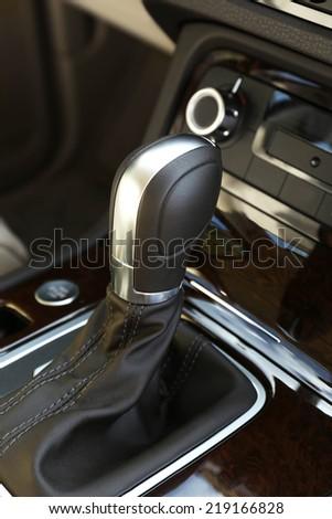Closeup of automatic transmission - stock photo