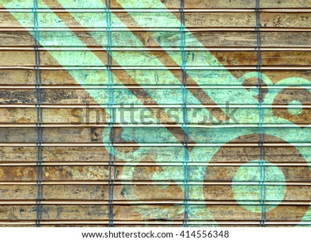 Closeup of bamboo pattern on table mat overlaid with pattern for effect.