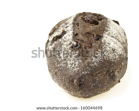 closeup of banana loves choco soft bread on white background - stock photo