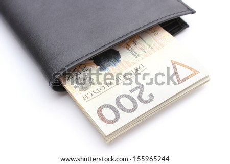 Closeup of banknote in wallet isolated on white background