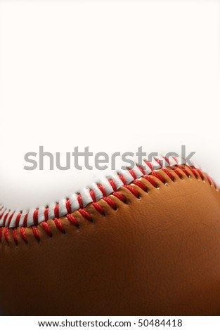 Closeup of Baseball and Copy-space.