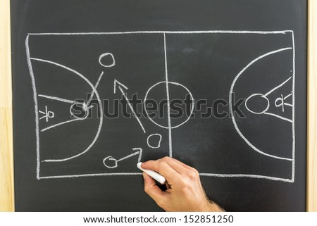 Closeup of basketball coach drawing game tactic on black board. - stock photo