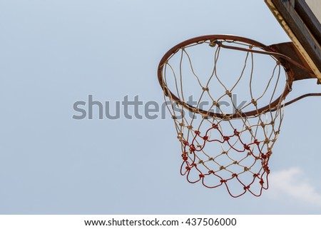 Closeup of basketball hoop background