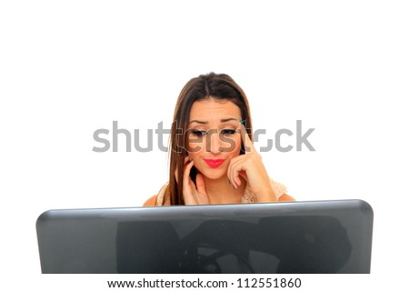 Closeup of beautiful business woman using laptop computer