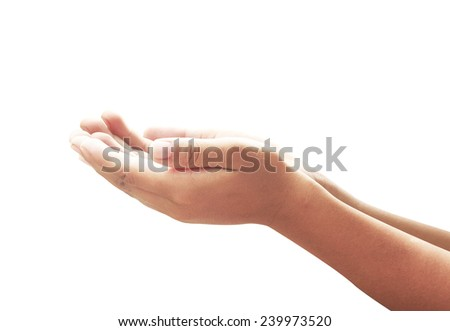 Closeup of beautiful children's hands, palms up. Human open empty two hands. Isolated on white background. Concept for Prayer Begging Carrying Assistance Presenting Revelation Spirituality Guidance. - stock photo
