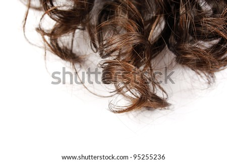 Closeup of beautiful curly human hair