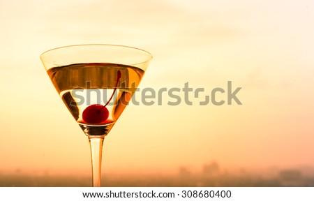 Closeup of beautiful martini glass. - stock photo