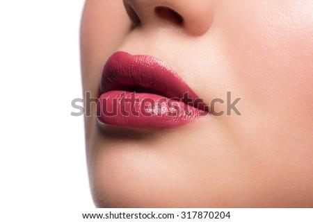 Closeup of beautiful sexy plump woman lips with lipstick  - stock photo