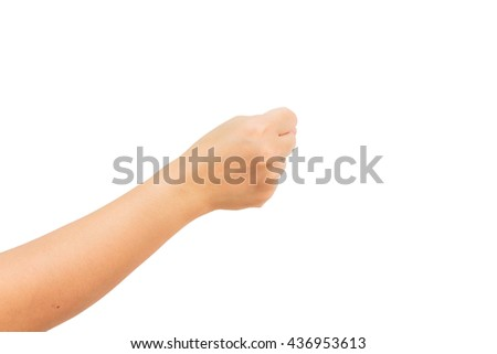 Closeup of beautiful woman hand isolated on white background with copy space.