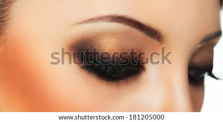 Closeup of beautiful womanish eye with makeup - stock photo