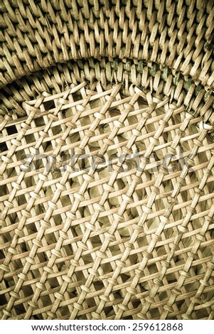 Closeup of beige basket. Wicker woven pattern for abstract background or texture - stock photo