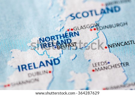 Closeup belfast northern ireland on political stock photo royalty closeup of belfast northern ireland on a political map of europe gumiabroncs Image collections