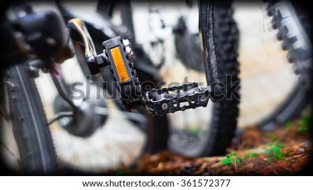 Closeup of bike pedals