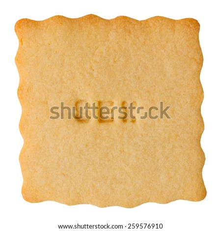 Closeup of biscuit with SEX sign isolated on white background.  - stock photo