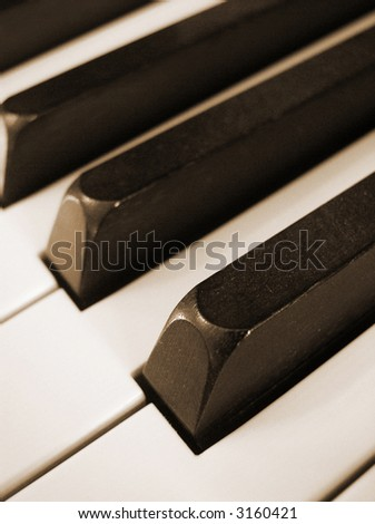 closeup of black and white piano keys, vertical orientation