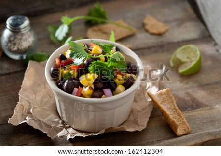 closeup of black bean and corn salsa