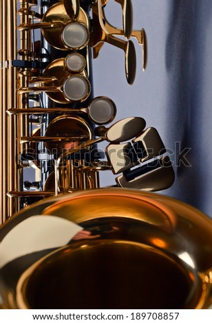 closeup of black saxophone
