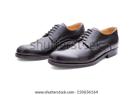 Closeup Of Black Shoes For Men Isolated On White Background