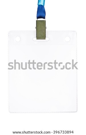 Closeup of blank badge or security card with blue neck strap isolated on white background  - stock photo