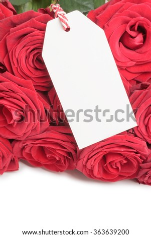 Closeup of blank white tag on bunch of red roses isolated on white background - stock photo
