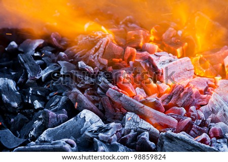 Closeup of blaze with sparks and fire - stock photo