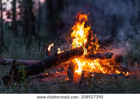Closeup of blazing campfire coals in the evening - stock photo