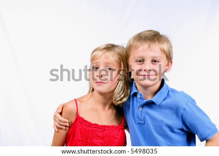 closeup of blond boy and girl - stock photo