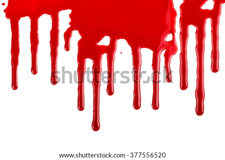 closeup of blood or paint dripping on white - stock photo