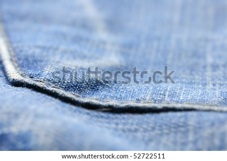 closeup of blue jeans pocket, shallow dof