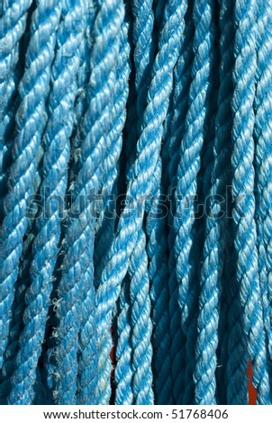 Closeup of blue nylon rope texture