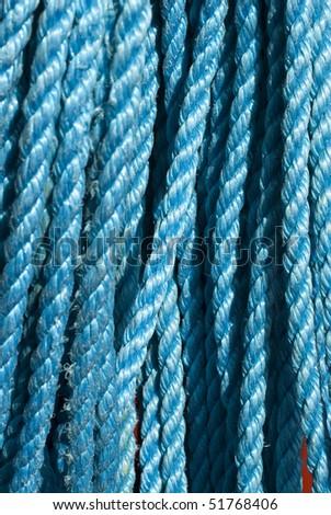 Closeup of blue nylon rope texture - stock photo
