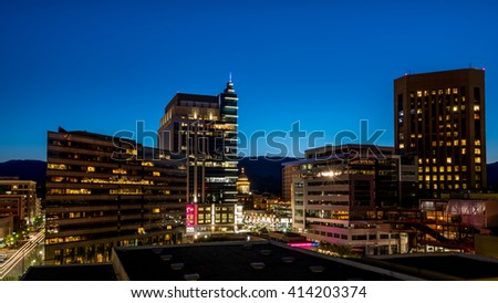 Closeup of Boise skyline at night during blue hour