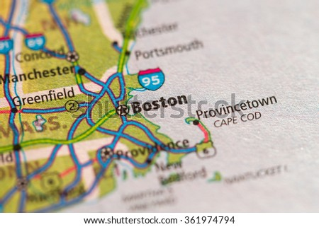 Closeup of Boston on a geographical map. - stock photo
