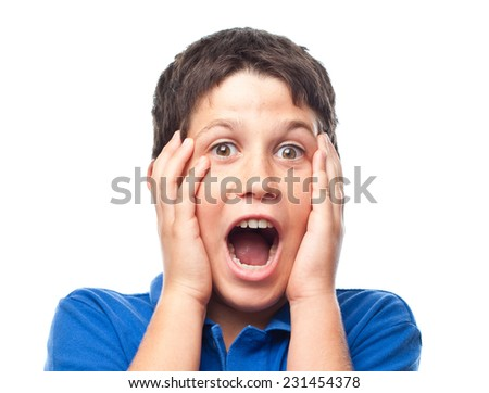 closeup of boy shouting