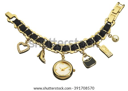 Closeup of bracelet watch with decorations over white background