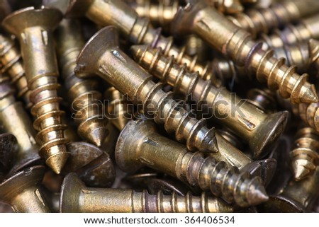 Closeup of brass screws