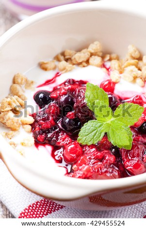 closeup of breakfast cereals with fruits and yoghurt  - stock photo