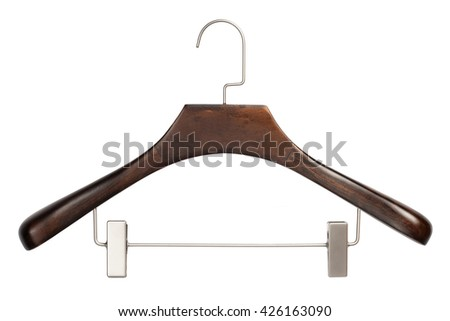 Closeup of brown wooden clothing hanger isolated over white background - stock photo