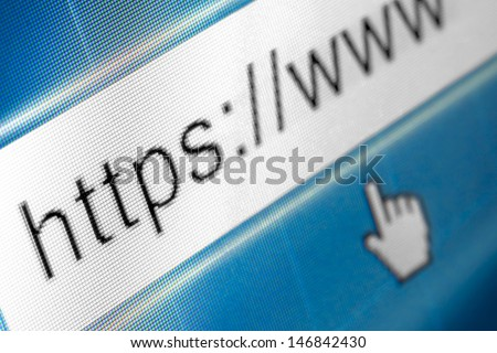 Closeup of browser bar with curser and https typed in - stock photo