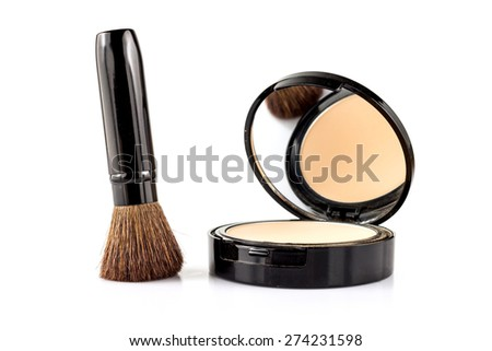closeup of brush and face powder isolated on white. - stock photo
