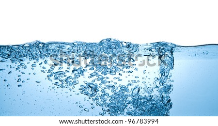 closeup of bubbles in water isolated on white background - stock photo