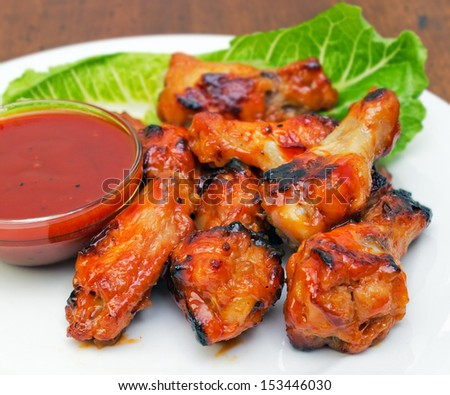Closeup of buffalo chicken wings plate
