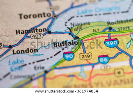 Closeup of Buffalo on a geographical map. - stock photo