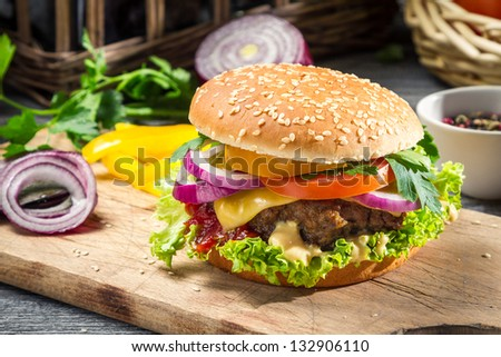 Closeup of burger made �¢??�¢??from vegetables