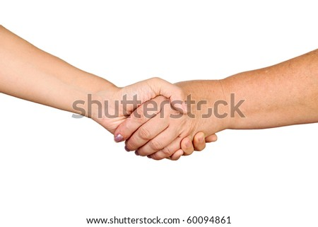 Closeup of business people shaking hands against white background
