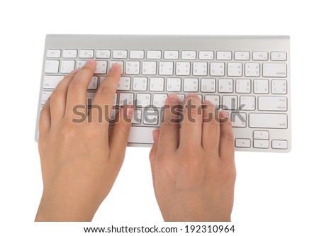 Closeup of business woman hand typing on laptop keyboard (with clipping work path) - stock photo