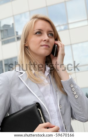 Closeup of businesswoman talking on the phone