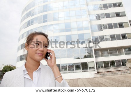 Closeup of businesswoman talking on the phone - stock photo