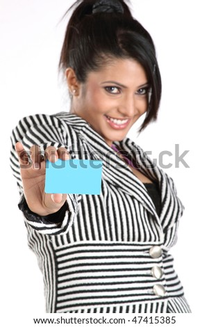 Closeup of businesswoman with blue credit card - stock photo